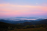 Moonset over the Black Mountains, as viewed from Roan Highlands