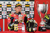 Shane Byrne of Be Wiser Ducati Racing Team during the conference after winning race two of the MCE British Superbikes in Association with Pirelli  2017 - BRANDS HATCH (GP) at Brands Hatch, Longfield, England on 15 October 2017. Photo by Alan  Stanford / PRiME Media Images.