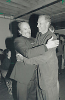 1990 FILE PHOTO - ARCHIVES -<br /> <br /> Old pals: American actors Rip Torn and Bruce Dern exhange greetings at the Sante Fe Bar and Grill party last night in honor of Dern's movie After Dark, My Sweet.<br /> <br /> 1990<br /> <br /> PHOTO :  Erin Comb - Toronto Star Archives - AQP