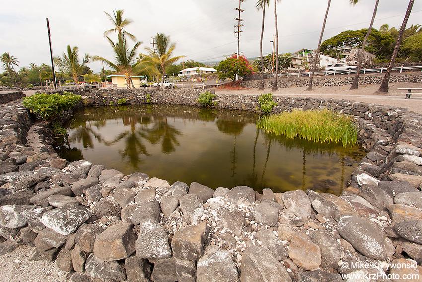 Waikua'a'ala loko wai pond, historic kapu bathing place of Hawaiian chiefs, Kahalu'u Beach, Kailua-Kona, Big Island, Hawaii