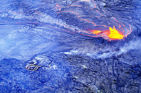 A helicopter view of a lava pool near Puna, Hawaii; part of Volcanoes National Park.