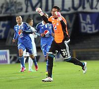 BOGOTA -COLOMBIA. 19-02-2014.  Luis Delgado guardameta de Millonarios  celebra su gol  contra el Once Caldas  durante el partido por la sexta fecha de La liga Postobon 1 disputado en el estadio El Campin. / Luis Delgado goalkeeper  of  Millionarios celebrates his goal  against Once Caldas during the game for the sixth round of the Postobon one league match at El Campin Stadium. Photo: VizzorImage/ Felipe Caicedo / Staff