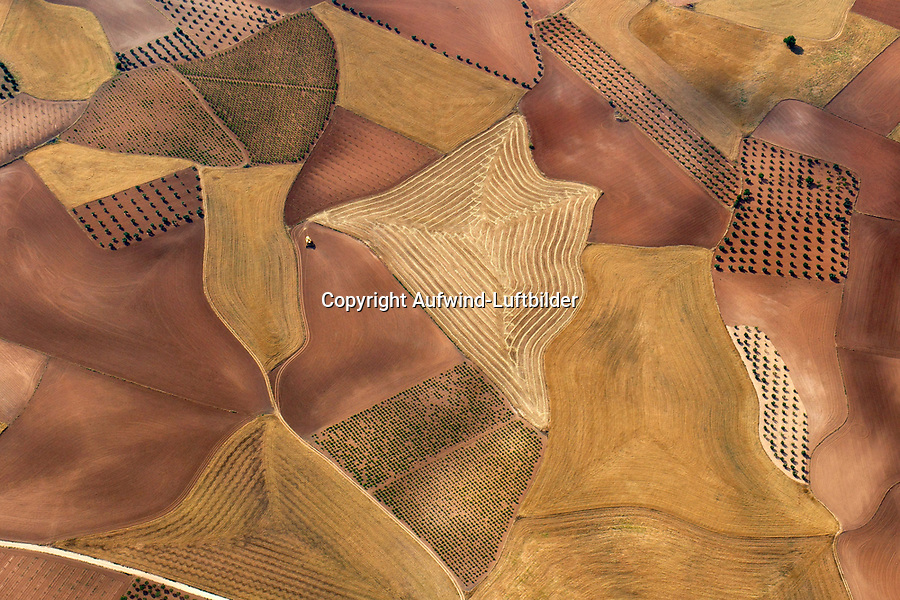 Spanische Landschaftsstrucktur in der La Mancha: SPANIEN, LA MANCHA 02.07.2018: Spanische Landschaftsstrucktur in der La Mancha