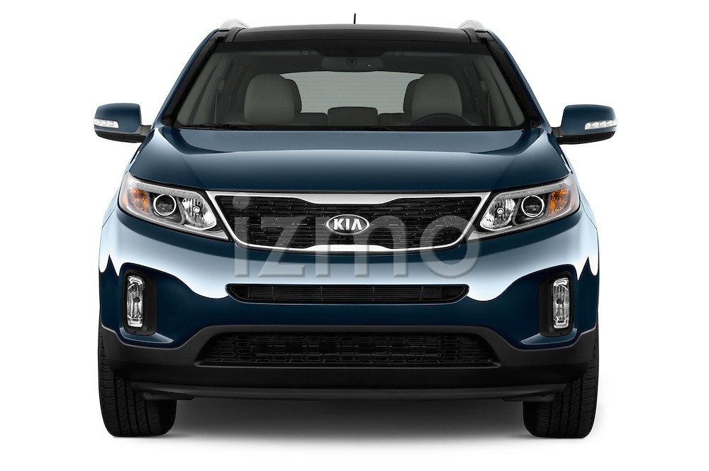 Car photography straight front view of a 2015 KIA Sorento EX V6 AT 5 Door Suv 2WD Front View