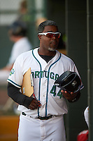 Daytona Tortugas hitting coach Gookie Dawkins (44) during a game against the Fort Myers Miracle on April 17, 2016 at Jackie Robinson Ballpark in Daytona, Florida.  Fort Myers defeated Daytona 9-0.  (Mike Janes/Four Seam Images)