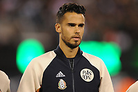EAST RUTHERFORD, NJ - SEPTEMBER 7: Diego Reyes #5 of Mexico during the presentation of the team during a game between Mexico and USMNT at MetLife Stadium on September 6, 2019 in East Rutherford, New Jersey.