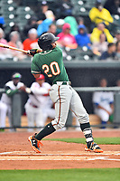 Northern Division third baseman James Nelson (20) of the Greensboro Grasshoppers swings at a pitch during the South Atlantic League All Star Game at Spirit Communications Park on June 20, 2017 in Columbia, South Carolina. The game ended in a tie 3-3 after seven innings. (Tony Farlow/Four Seam Images)