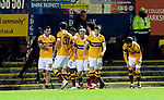 Motherwell v St Johnstone…28.11.20   Fir Park      BetFred Cup<br />Tony Watt celebrates putting Motherwell  1-0 up<br />Picture by Graeme Hart.<br />Copyright Perthshire Picture Agency<br />Tel: 01738 623350  Mobile: 07990 594431