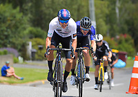 Corbin Strong (NZ team) holds off Aaron Gate (Black Spoke) for second. Masterton-Alfredton road circuit - Stage Two of 2021 NZ Cycle Classic UCI Oceania Tour in Wairarapa, New Zealand on Wednesday, 13 January 2021. Photo: Dave Lintott / lintottphoto.co.nz