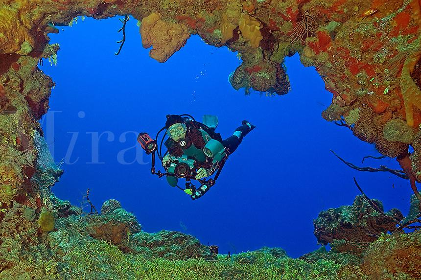 Underwater photographer (MR) at Randy's Gazebo, Bloody Bay Wall, Little Cayma