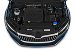 Car stock 2020 Skoda Superb Ambition 5 Door Hatchback engine high angle detail view