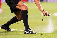 Referee using the Spray during the XXXVII Santiago Bernabeu Trophy in Madrid. August 16, Spain. 2016. (ALTERPHOTOS/BorjaB.Hojas) /NORTEPHOTO