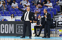 30th September 2021; Madrid, Spain:  Euroleague Basketball, Real Madrid versus Anadolu Efes Istanbul;  Pablo Laso coach Real Madrid and Jesus Mateo assistant coach during the Matchday 1 between Real Madrid and Anadolu Efes Istanbul
