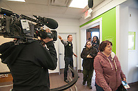 """Morgan Spurlock greets the first customers at the opening of  """"Holy Chicken,"""" a faux fast food restaurant in Columbus, Ohio, where a documentary crew recorded his interaction with customers who thought they were dining at a new type of fast food restaurant. However, the entire location was designed to be part of his documentary highlighting the marketing of food that may not be as healthy as it is stated in advertisement, banners, and notices at the restaurant."""