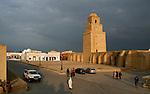Street scene in front of the Great Mosque of Kairouan, Tunisia.