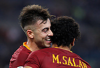 Calcio, Serie A: Roma vs Palermo. Roma, stadio Olimpico, 23 ottobre 2016.<br /> Roma's Stephan El Shaarawy, left, celebrates with teammate Mohamed Salah after scoring during the Italian Serie A football match between Roma and Palermo at Rome's Olympic stadium, 23 October 2016. Roma won 4-1.<br /> UPDATE IMAGES PRESS/Riccardo De Luca