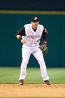 Arkansas Travelers shortstop Eric Stamets (8) during a game against the Corpus Christi Hooks on May 29, 2015 at Dickey-Stephens Park in Little Rock, Arkansas.  Corpus Christi defeated Arkansas 4-0 in a rain shortened game.  (Mike Janes/Four Seam Images)