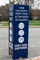 COVID-19 Awareness Reminder, Georgetown University Campus, Washington, DC.