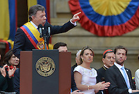 BOGOTÁ -COLOMBIA. 07-08-2014. Juan Manuel Santos, presidente reelecto de Colombia, en el discurso de toma de posesión para su nuevo período constitucional como presidente 2014 - 2018 en las afueras del Capitolio Nacional en la ciudad de Bogotá./ Juan Manuel Santos, reelected president of Colombia, gives a speech during the ceremony where he takes office to his new constitutional term as president 2014 - 18 outseide of National Capitol in Bogota city. Photo: VizzorImage/ Gabriel Aponte / Staff
