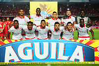 CALI-COLOMBIA , 28-02-2019. Formación del Independiente Santa Fe ante el América de Cali durante partido por la fecha 7 de la Liga Águila I 2019 jugado en el estadio Pascual Guerrero de la ciudad de Cali./ Team of Independiente Santa Fe agaisnt of  America of Cali    during the match for the date 7 of the Aguila League I 2019 played at Pascual Guerrero stadium in Cali city. Photo: VizzorImage/ Nelson Rios / Contribuidor