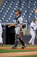 Lakeland Flying Tigers catcher Joey Morgan (33) during a Florida State League game against the Tampa Tarpons on April 7, 2019 at George M. Steinbrenner Field in Tampa, Florida.  Tampa defeated Lakeland 3-2.  (Mike Janes/Four Seam Images)