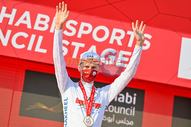 Tadej Pogacar (SLO) UAE Team Emirates also takes over the young riders White Jersey at the end of Stage 2 of the 2021 UAE Tour running 13km around Al Hudayriyat Island, Abu Dhabi, UAE. 22nd February 2021.  <br /> Picture: LaPresse/Fabio Ferrari | Cyclefile<br /> <br /> All photos usage must carry mandatory copyright credit (© Cyclefile | LaPresse/Fabio Ferrari)