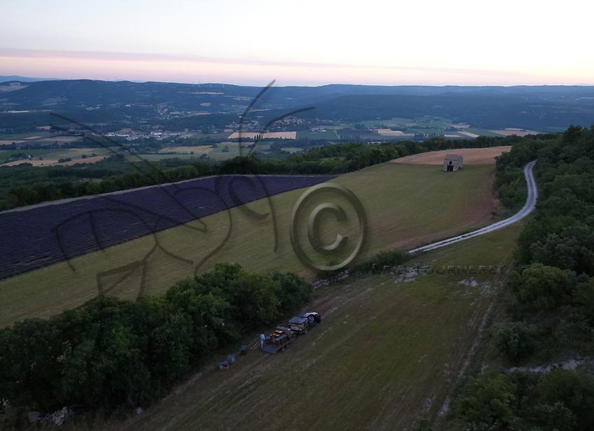 Aerial view of three apiaries in the lavender fields near Valensole. The production of lavender honey is estimated to be 1000 tons a year.<br /> Vue aérienne de trois ruchers dans les champs de lavandins près de Valensole. La production en miel de lavande s'estime autour 1000 tonnes par an.
