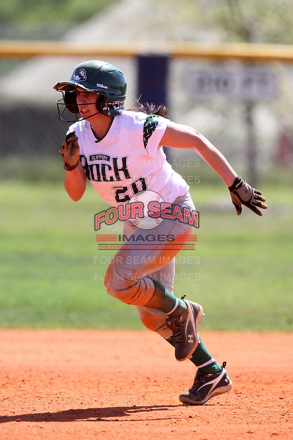 Slippery Rock outfielder Gina Brenzo #20 during a game against Lees-McRae College at Oren Brown Field on March 7, 2011 in Kissimmee, Florida.  Slippery Rock defeated Lees-McRae 9-6.  (Mike Janes/Four Seam Images)