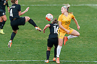 June 4, 2016: ELLIE CARPENTER (20) of Australia heads the ball during an international friendly match between the Australian Matildas and the New Zealand Football Ferns as part of the teams' preparation for the Rio Olympic Games at Morshead Park in Ballarat. Photo Sydney Low