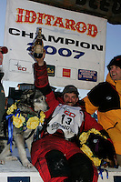Tuesday March 13, 2007   ----   Lance Mackey, the 2007 Iditarod champion arrives in Nome.