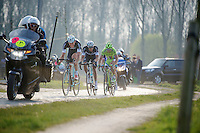 decisive 4 man breakaway on the cobbles of the Varentstraat with 7 km to go: Stijn Vandenbergh (BEL/OPQS), Niki Terpstra (NLD/OPQS), Peter Sagan (SVK/Cannondale) & Geraint Thomas (GBR/SKY)<br /> <br /> 57th E3 Harelbeke 2014
