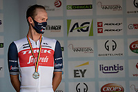 A dissapointed runner-up Edward Theuns (BEL/Trek-Segafredo) on the podium after the race.<br /> <br /> Belgian National Championships 2021 - Road Race<br /> <br /> One day race from Waregem to Waregem (221km)<br /> <br /> ©kramon