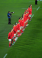The Wales team faces the All blacks haka during the Steinlager Series rugby union match between the New Zealand All Blacks and Wales at Westpac Stadium, Wellington, New Zealand on Saturday, 18 June 2016. Photo: Dave Lintott / lintottphoto.co.nz