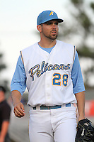 Myrtle Beach Pelicans first baseman Brett Nicholas #28 at his position during a game against the Lynchburg Hillcats at Tickerreturn.com Field at Pelicans Ballpark on May 24, 2012 in Myrtle Beach, South Carolina. Myrtle Beach defeated Lynchburg by the score of 8-6. (Robert Gurganus/Four Seam Images)