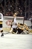 February 17th 2007:  Tim Thomas (30) of the Boston Bruins gets flipped vs. the Buffalo Sabres at HSBC Arena in Buffalo, NY.  The Bruins defeated the Sabres 4-3 in a shootout.