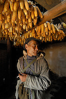 "Lang Jili, 70, of Quianjin village one mile from China's ""Space Launch Centre"" in Sichuan Province, China. The Chinese made Long March Rocket called Chang'e 1, was launched 24th October 2007, Sichuan Province, China."
