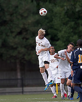 Boston College midfielder Kyle Bekker (10) heads the ball. Boston College defeated Quinnipiac, 5-0, at Newton Soccer Field, September 1, 2011.