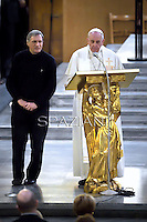 Pope Francis, Father Luigi Ciotti of the Catholic Libera association during a service at Rome's San Gregorio church on March 21, 2014.