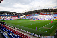 29th April 2021; DW Stadium, Wigan, Lancashire, England; BetFred Super League Rugby, Wigan Warriors versus Hull FC; The empty DW stadium awaits the match of two of the remaining unbeaten teams in the BSL