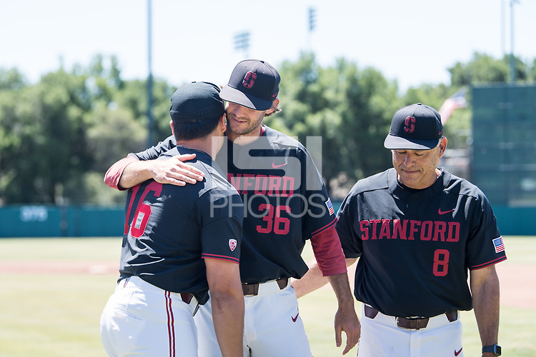 STANFORD, CA - MAY 29: Jonathan Worley, David Esquer, Vincent Martinez before a game between Oregon State University and Stanford Baseball at Sunken Diamond on May 29, 2021 in Stanford, California.