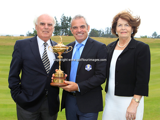 European Ryder Cup Captain Paul McGinley (IRL) with his mum and dad - Mick and Julia and the Ryder Cup Trophy at Gleneagles. The Ryder Cup 2014 will be played over the PGA Centenary Course at Gleneagles, Perthshire, Scotland from 26th to 28th September 2014: Picture Stuart Adams www.golftourimages.com: 20th August January 2013