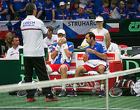 01-02-14,Czech Republic, Ostrava, Cez Arena, Davis Cup Czech Republic vs Netherlands,    Berdych/Stepanek(CZE) on the bench with captain Jaroslav Navrátil<br /> Photo: Henk Koster