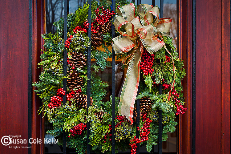 Christmas decorations on Beacon Hill, Boston, MA