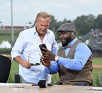 DYERSVILLE, IOWA - AUGUST 12: Fox MLB Pregame broadcaster David Ortiz with guest Kevin Costner at the Fox broadcast of the MLB Field of Dreams game on August 12, 2021 in Dyersville, Iowa. (Photo by Frank Micelotta/Fox Sports/PictureGroup)