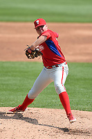 Eric Mock (49) of Governor Mifflin High School in Shillington, Pennsylvania playing for the Philadelphia Phillies scout team during the East Coast Pro Showcase on August 1, 2014 at NBT Bank Stadium in Syracuse, New York.  (Mike Janes/Four Seam Images)