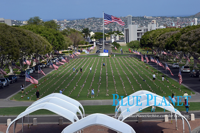 View of the Punchbowl Crater Memorial Cemetery, Honolulu, Hawaii, USA
