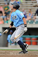 Infielder Joey Lewis (22) of the Wilmington Blue Rocks, Carolina League affiliate of the Kansas City Royals, in a game against the Lynchburg Hillcats on June 15, 2011, at City Stadium in Lynchburg, Va. (Tom Priddy/Four Seam Images)