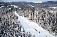 Monica Zappa runs down a slough with snow-covered spruce trees lining the banks in the afternoon on her way to the McGrath checkpoint during the 2018 Iditarod race on Wednesday March 07, 2018. <br /> <br /> Photo by Jeff Schultz/SchultzPhoto.com  (C) 2018  ALL RIGHTS RESERVED