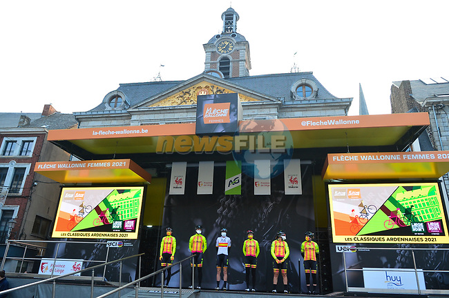 ALE' BTC Ljubljana team at sign on before the 2021 Flèche-Wallonne Femmes, running 130.2 km from Huy to Huy, Belgium. 21st April 2021.  <br /> Picture: A.S.O./Gautier Demouveaux | Cyclefile<br /> <br /> All photos usage must carry mandatory copyright credit (© Cyclefile | A.S.O./Gautier Demouveaux)