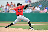 Birmingham Barons starting pitcher Ian Clarkin (28) delivers a pitch during a game against the Tennessee Smokies at Smokies Stadium on May 6, 2018 in Kodak, Tennessee. The Smokies defeated the Barons 6-2. (Tony Farlow/Four Seam Images)